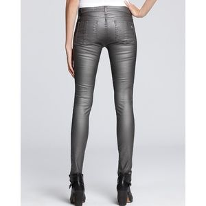 rag & bone Jeans - RAG & BONE Pewter Metallic Coated Leggings